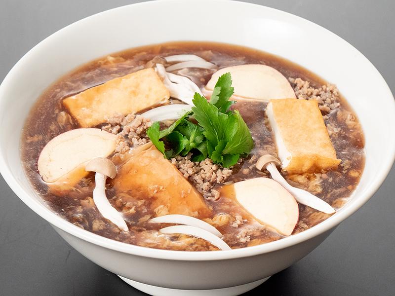 茨城県産さつま芋と豚挽き肉の黒酢酸辣湯麺
